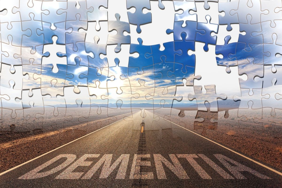 puzzle of road with dementia printed on it.
