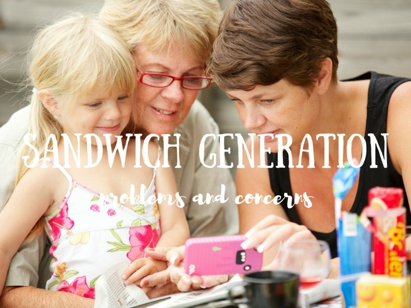Child, Generation x. and senior looking at pictures on an iPhone