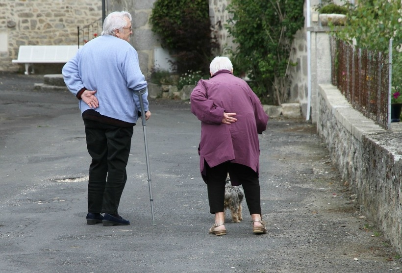 Senior couple attempting to walk their dog.