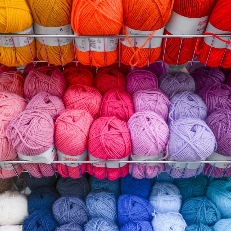Rows of colored yarn