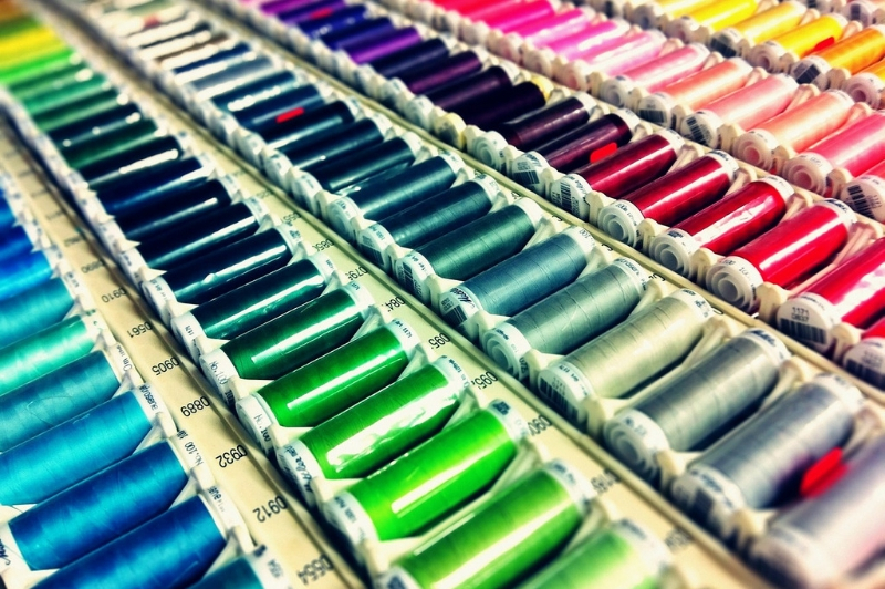 Rows of colored thread